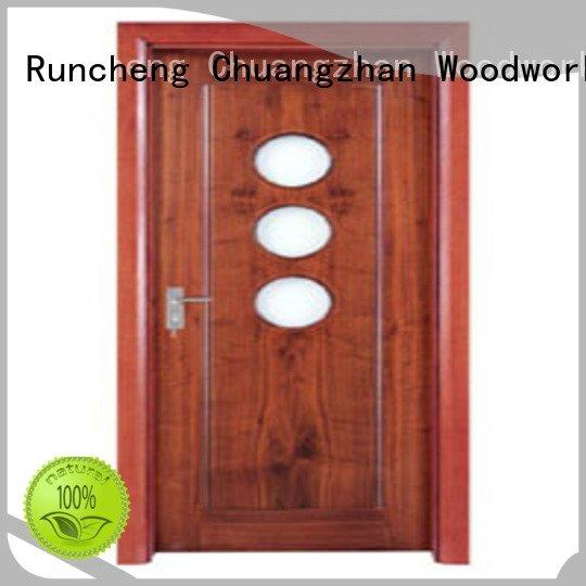 door glazed Runcheng Woodworking wooden double glazed doors