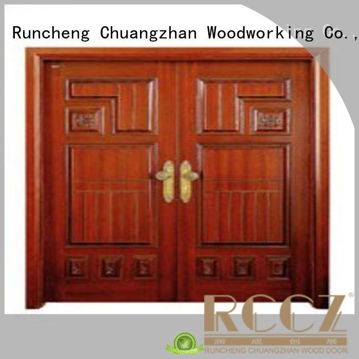 solid quality double door door white double doors Runcheng Woodworking Brand