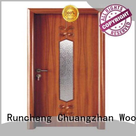 wooden glazed front doors door wooden double glazed doors Runcheng Woodworking Brand