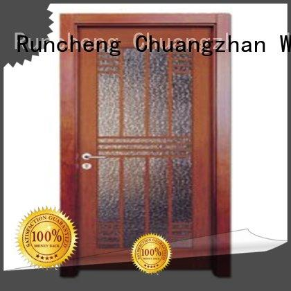 door durable glazed wooden double glazed doors glazed Runcheng Woodworking