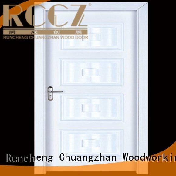 cheap wooden front doors d024 s020 OEM interior wooden door with solid wood Runcheng Woodworking