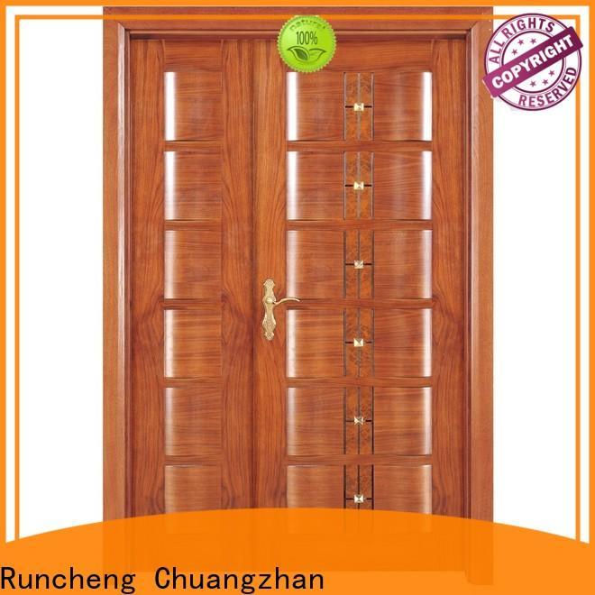 Best double door design in wood solid company for indoor