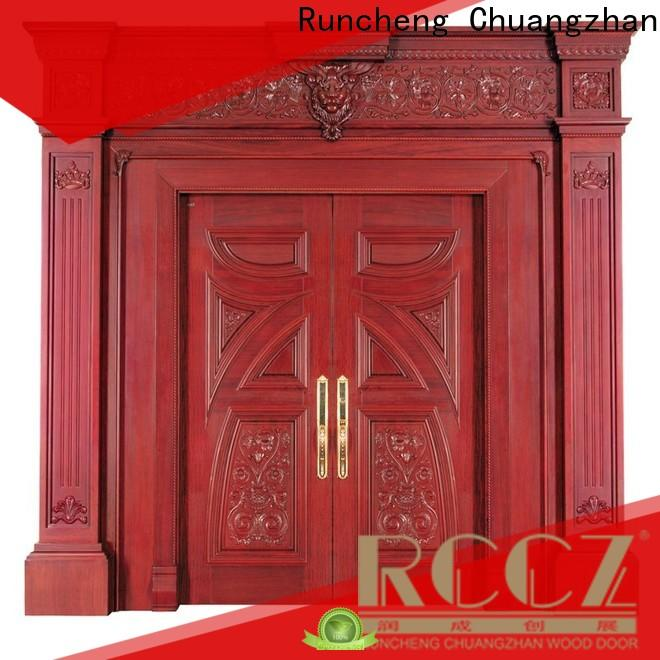 Runcheng Chuangzhan modern double door design in wood factory for villas